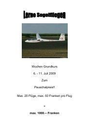 Schulungskurse 2009 - Segelfluggruppe Oberaargau