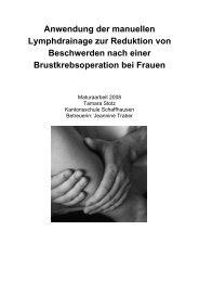 Anwendung der manuellen Lymphdrainage zur Reduktion von ...