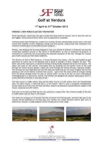Golf at Verdura - English - April 1st to October 31st 2013 - EWTC