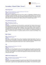 Secondary School Clubs: Term 2 - Fundatia International British ...