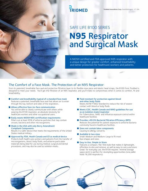 Corp And Mask N95 Respirator Life Surgical Safe -