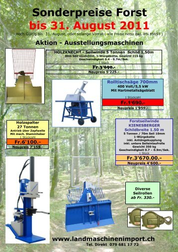 Frühjahr Sonderpreise - Landmaschinenimport.ch