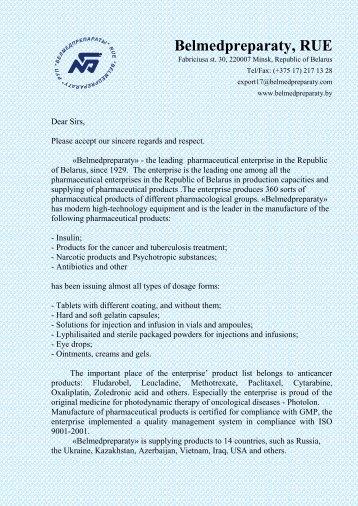 Belmedpreparaty, RUE - Embassy of the Republic of Belarus in the ...