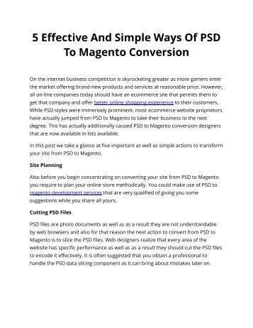 5 Effective And Simple Ways Of PSD To Magento Conversion