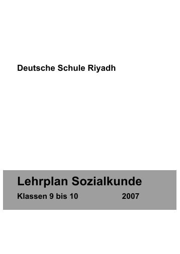 Lehrplan Sozialkunde - Deutsche Schule Riyadh