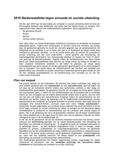 2010 Stedenestafette tegen armoede en sociale uitsluiting - Nibud