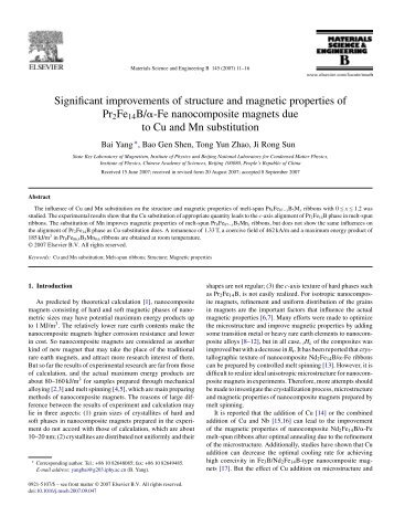 Significant improvements of structure and magnetic properties of ...