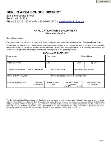 General Employment Application - Berlin Area School District