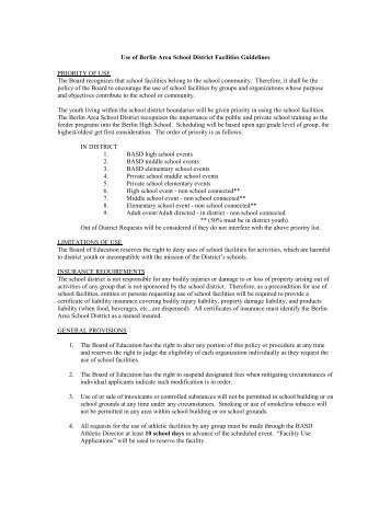 Building Use Date Request Form & Rules - Berlin Area School District