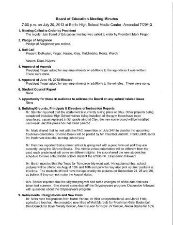 School Board Minutes - Berlin Area School District