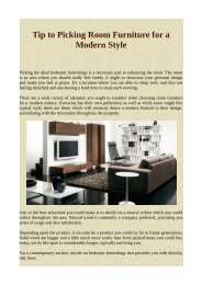 Tip to Picking Room Furniture for a Modern Style