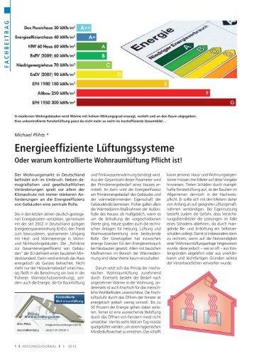 Energieeffiziente Lüftungssysteme
