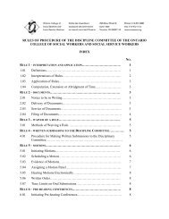 Rules of Practice and Procedure of the Discipline Committee