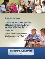 Rapport d'étapes Groupe de travail sur les soins et la sécurité dans ...