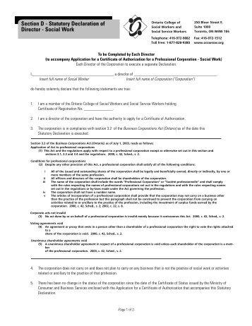 Statutory declaration form section 231b senior officepdf section d statutory declaration of director ontario college of altavistaventures Choice Image