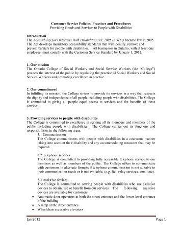Customer Service Policies, Practices and Procedures
