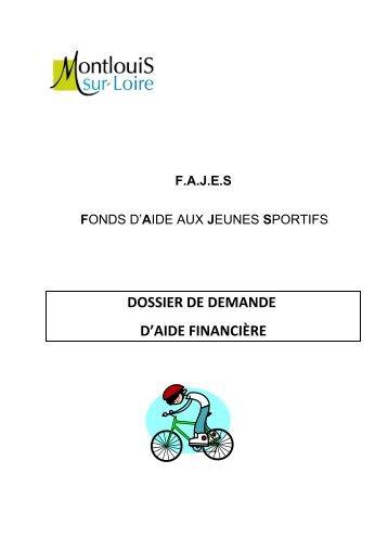 DOSSIER DE DEMANDE D'AIDE FINANCIÈRE - Montlouis-sur-Loire