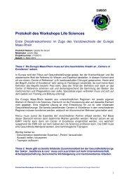 Protokoll des Workshops Life Sciences - Stichting Euregio Maas Rhein