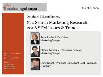 New Search Marketing Research: 2006 SEM Issues & Trends
