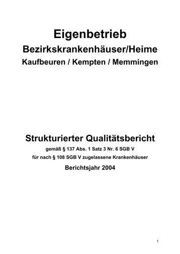strukturierter Qualitätsbericht 2004 - Bezirkskrankenhaus Kaufbeuren