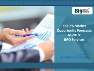 2018 Kable's BPO Services Market Opportunity Forecasts