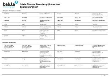 Phrasen: Bewerbung | Lebenslauf (Deutsch Englisch)   Bab.la