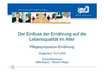 Der Einfluss der Ernährung auf die Lebensqualität im ... - MDK Bayern