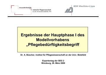 Ergebnisse der Hauptphase I des Modellvorhabens ... - MDK Bayern
