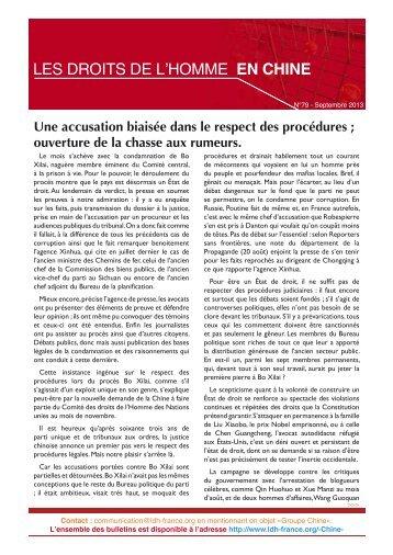 Les droits de l'Homme en Chine n° 79 - Septembre 2013