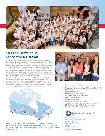 Faits saillants de la rencontre à Ottawa - Terry Fox Foundation
