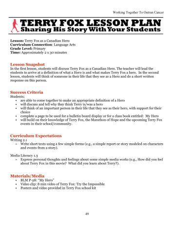 terry fox the true canadian hero And made it come true  tthe 2014 terry fox runhe 2014 terry fox run the canadian reader supplementary news 9  could terry fox be considered a hero explain.