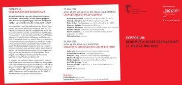 Symposium Neue Musik in der Gesellschaft - Incontri - Institut für ...