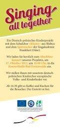 Ein Deutsch-polnisches Kinderprojekt mit dem Schulchor ... - Viadrina