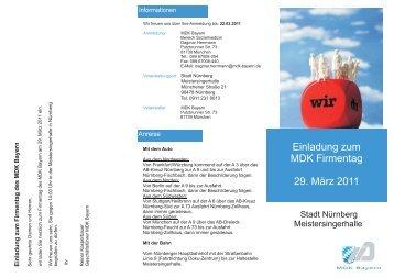Einladung zum MDK Firmentag 29. März 2011 - MDK Bayern