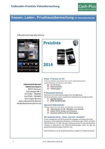Preisliste Endkunden Cash-plus 2014