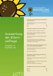 Auswertung der Eltern- umfrage - Kindergarten Sonnenblume