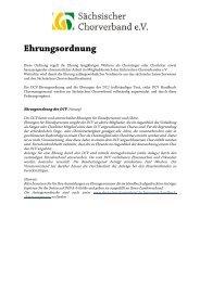 Ehrungsordnung des SCV - Sächsischer Chorverband