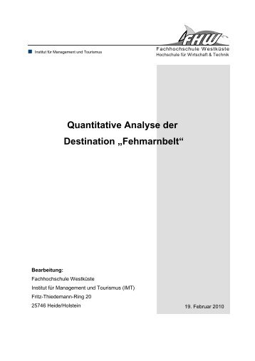 "Quantitative Analyse der Destination ""Fehmarnbelt"""