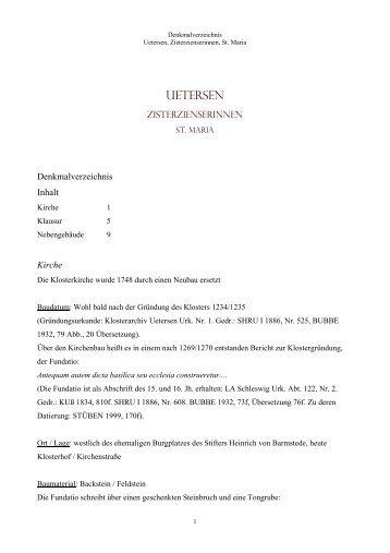 uETERSEN - Klöster, Stifte und Konvente in Schleswig-Holstein und ...