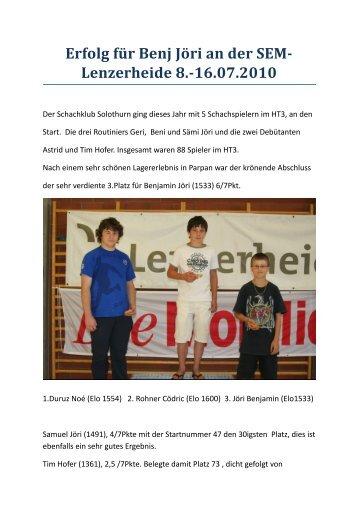 Bericht und Fotos (pdf) - Schachklub Solothurn