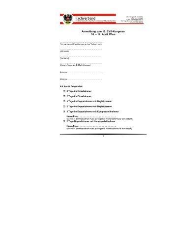 Anmeldung zum 12. EVS-Kongress 16. – 17. April, Wien