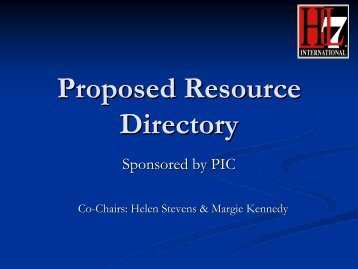 Proposed Resource Directory