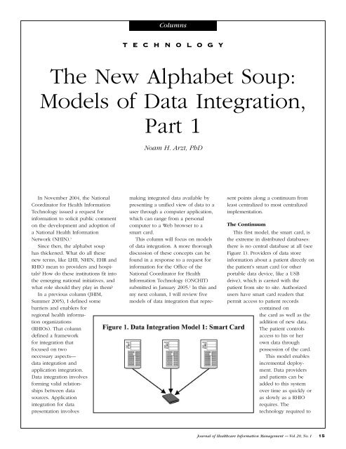 The New Alphabet Soup: Models of Data Integration, Part 1