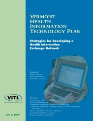 VERMoNT HEALTH INFoRMATIoN TECHNoLoGY PLAN