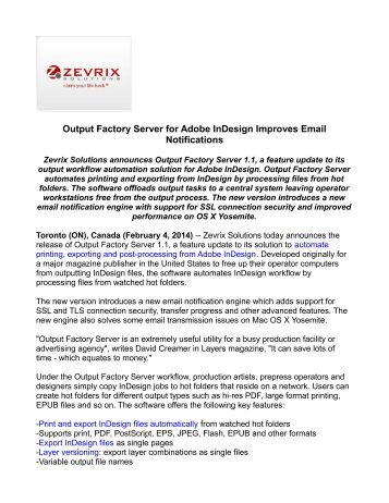 Output Factory Server for Adobe InDesign Improves Email Notifications