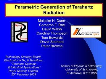 Parametric Generation of Terahertz Radiation - Electronics ...