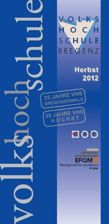 Kurse Herbst 2012 - Volkshochschule Bregenz
