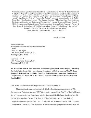 Coalition comments on EPA Draft Title VI Policy Papers