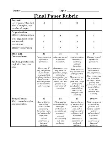 college term paper grading rubric