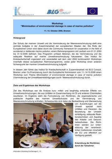 "Workshop ""Minimisation of environmental ... - Marine Pollution"